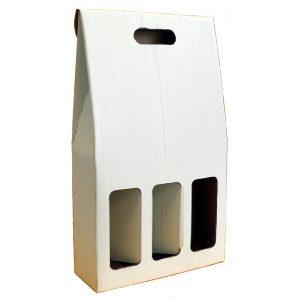 Astuccio in cartone bianco per 3 bottiglie renane bordolesi