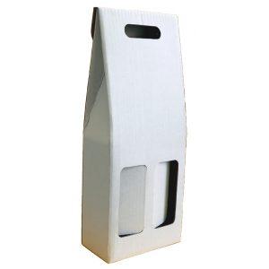 Astuccio in cartone bianco per 2 bottiglie renane bordolesi