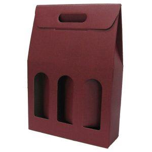 Astuccio in cartone rosso per 3 bottiglie renane bordolesi